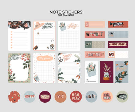 Set of planners and to do lists with spring floral scandinavian illustrations and trendy lettering. Template for agenda, planners, check lists, and other stationery. Isolated. Vector background  イラスト・ベクター素材