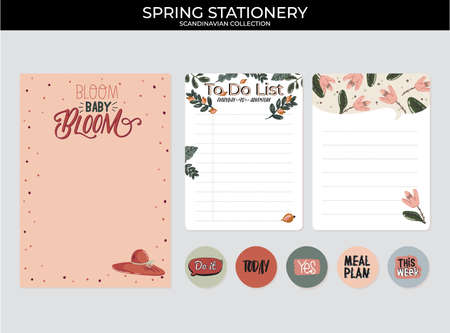 Set of planners and to do lists with spring floral scandinavian illustrations and trendy lettering. Template for agenda, planners, check lists, and other stationery. Isolated. Vector background Illustration