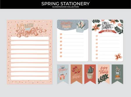 Set von Planern und Aufgabenlisten mit skandinavischen Frühlingsblumenillustrationen und trendigen Schriftzügen. Vorlage für Agenda, Planer, Checklisten und anderes Briefpapier. Isoliert. Vektorhintergrund