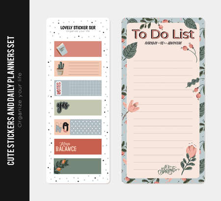 Set of planners and to do lists with spring floral scandinavian illustrations and trendy lettering. Template for agenda, planners, check lists, and other stationery. Isolated. Vector background Vectores