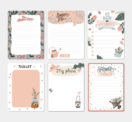 Set of planners and to do lists with spring floral scandinavian illustrations and trendy lettering. Template for agenda, planners, check lists, and other stationery. Isolated. Vector background Çizim