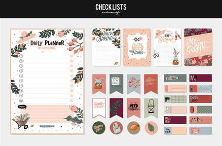 Set of planners and to do lists with spring floral scandinavian illustrations and trendy lettering. Template for agenda, planners, check lists, and other stationery. Isolated. Vector background