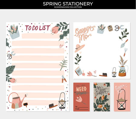 Set of planners and to do lists with spring floral scandinavian illustrations and trendy lettering. Template for agenda, planners, check lists, and other stationery. Isolated. Vector background Иллюстрация