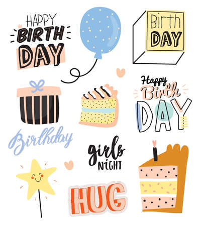 Happy birthday kids set with cute Holiday Party elements; gift box, ballon, cake, candle, hat. Isolated. White background. Vector. Good for decoration children's party Foto de archivo - 124228853