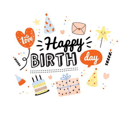 Happy birthday kids set with cute Holiday Party elements; gift box, ballon, cake, candle, hat. Isolated. White background. Vector. Good for decoration children's party Foto de archivo - 124228859