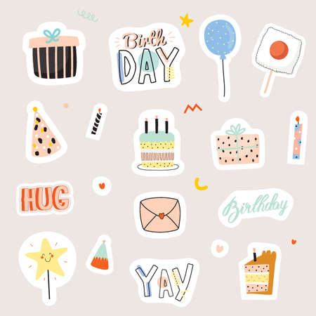 Happy birthday kids set with cute Holiday Party elements; gift box, ballon, cake, candle, hat. Isolated. White background. Vector. Good for decoration children's party Foto de archivo - 124228863