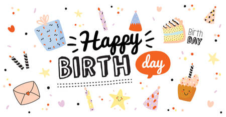Happy birthday kids set with cute Holiday Party elements; gift box, ballon, cake, candle, hat. Isolated. White background. Vector. Good for decoration children's party Foto de archivo - 124228866