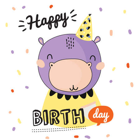Romantic and lovely baby shower card for girl and boys. Cute animal illustration. Vector. Good for decoration children's party, posters; invitations; cards and nursery decor. Scandinavian kids Foto de archivo - 124228885