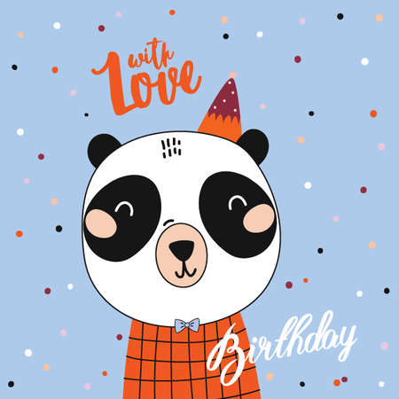 Romantic and lovely baby shower card for girl and boys. Cute animal illustration. Vector. Good for decoration children's party, posters; invitations; cards and nursery decor. Scandinavian kids Foto de archivo - 124228887