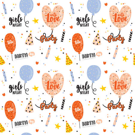 Happy birthday kids pattern with cute Holiday Party elements; gift box, ballon, cake, candle, hat. Isolated. White background. Vector. Good for decoration children's party Foto de archivo - 124228890