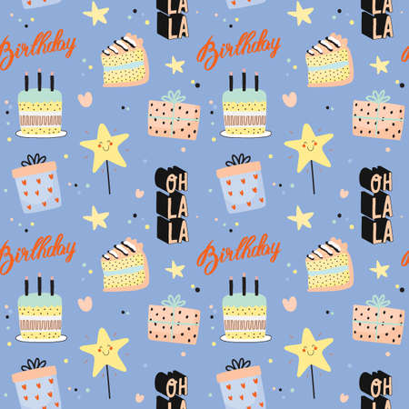 Happy birthday kids pattern with cute Holiday Party elements; gift box, ballon, cake, candle, hat. Isolated. White background. Vector. Good for decoration children's party Foto de archivo - 124228895