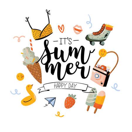 Imprimé Summer Beach Party avec des éléments de vacances mignons et des lettres sur fond blanc. Style tendance dessiné à la main. Vecteur. Bon pour les invitations, les étiquettes, les étiquettes, le Web, les bannières, les affiches, les cartes et les dépliants
