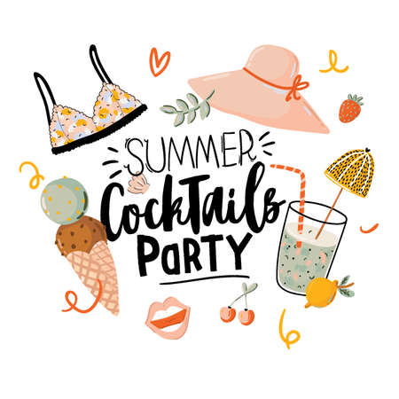 Summer Cocktails Party print with cute holiday elements and lettering on white background.  Hand drawn trendy style. Vector. Good for invitations, labels, tags, web, banners, posters, cards, flyers Illustration