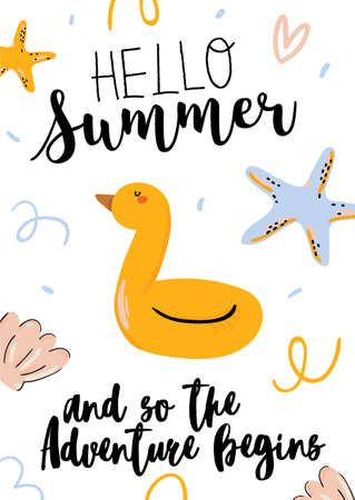 Summer print with cute holiday elements and lettering isolated on white background.  Hand drawn trendy style. Vector. Good for invitations, labels, tags, web, banners, posters, cards and flyers