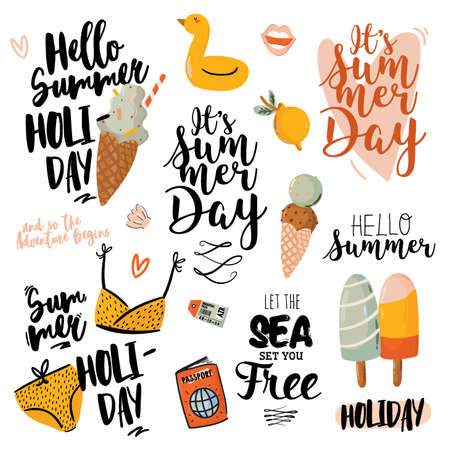 Summer print with cute holiday elements and lettering isolated on white background. Hand drawn trendy style. Vector. Good for fabric design, labels, tags, web, banner, poster, card, flyer Vetores