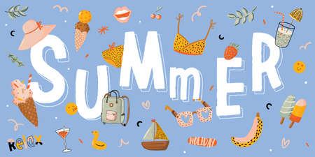Summer print with cute holiday elements and lettering on color background.  Hand drawn trendy style. Vector. Good for invitations, labels, tags, web, banners, posters, cards and flyers Illustration