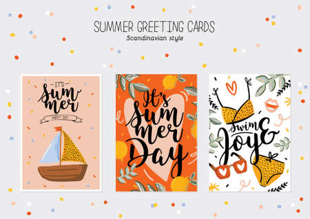 Collection of summer print with cute holiday elements and lettering on color background.  Hand drawn trendy style. Vector. Good for invitations, labels, tags, web, banners, posters, cards and flyers