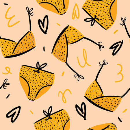 Summer seamless pattern with cute swimsuits on color background. Hand drawn scandinavian trendy style. Vector. Good for party invitations, banner, poster, fabric textile design, gift wrap