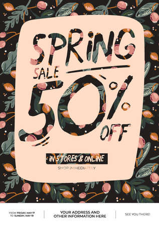 Spring sale background with beautiful flowers and romantic lettering. Good template for web, card, poster, sticker, banner, invitation, wedding. Vector illustration