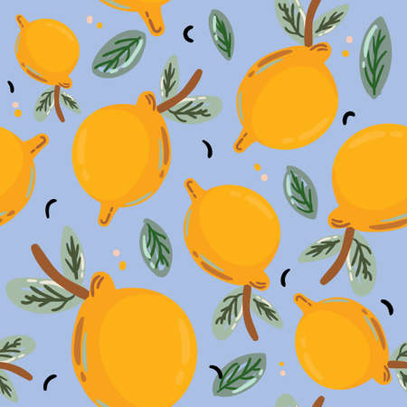 Summer tropical seamless pattern with beautiful yellow lemons. Fruit repeated background. Hand drawn scandinavian style. Vector. Good for textile, fabric design, wrapping paper, wallpaper, backdrop