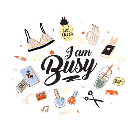 Feminism vector patch set. I am Busy. Girl power quote. Vector. Isolated on white background. Trendy and cute lettering. Perfect for posters, stickers, embroidery, badges, pins and clothing