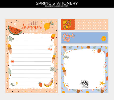 Collection of weekly and daily planners, sheet for notes and to do lists with summer  illustrations and lettering. Template for agenda, planners, check lists, and other stationery. Vector Stok Fotoğraf - 122695695
