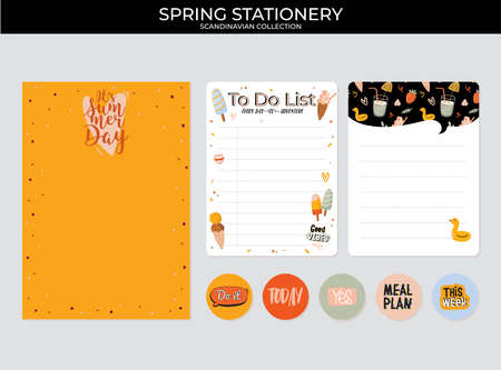 Collection of weekly and daily planners, sheet for notes and to do lists with summer  illustrations and lettering. Template for agenda, planners, check lists, and other stationery. Vector Stok Fotoğraf - 122695696