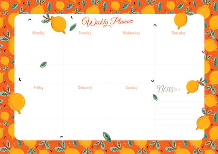 Collection of weekly and daily planners, sheet for notes and to do lists with summer  illustrations and lettering. Template for agenda, planners, check lists, and other stationery. Vector
