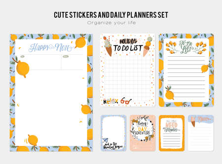 Collection of weekly and daily planners, sheet for notes and to do lists with summer  illustrations and lettering. Template for agenda, planners, check lists, and other stationery. Vector Stok Fotoğraf - 122695704