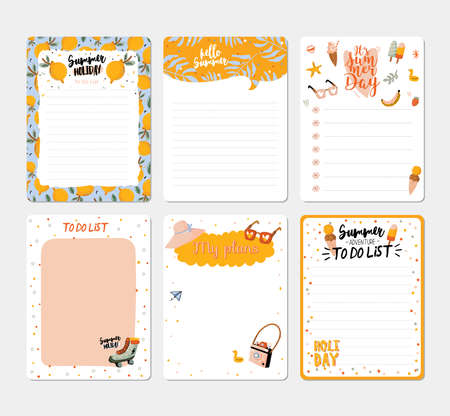 Collection of weekly and daily planners, sheet for notes and to do lists with summer  illustrations and lettering. Template for agenda, planners, check lists, and other stationery. Vector Foto de archivo - 122695723