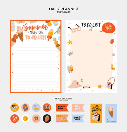 Collection of weekly and daily planners, sheet for notes and to do lists with summer  illustrations and lettering. Template for agenda, planners, check lists, and other stationery. Vector Stok Fotoğraf - 122695725