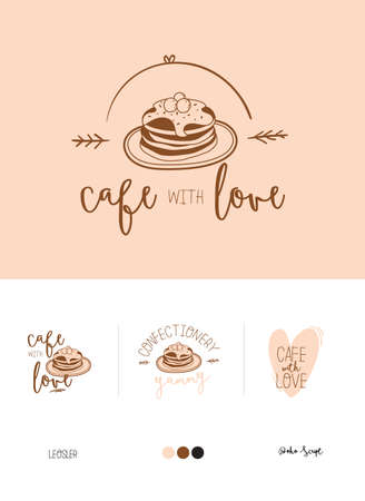 Set logotype for restaurant and cafe menu design. Vector logo template. Food icon, sweets, drinks, fast food with trendy lettering. Scandinavian illustration in simple black and white line style.