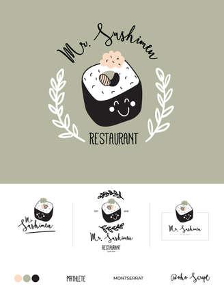 Imposta il logo per il design del menu di ristoranti e bar. Modello di logo di vettore. Icona del cibo, dolci, bevande, fast food con scritte alla moda. Illustrazione scandinava in semplice stile di linea in bianco e nero.