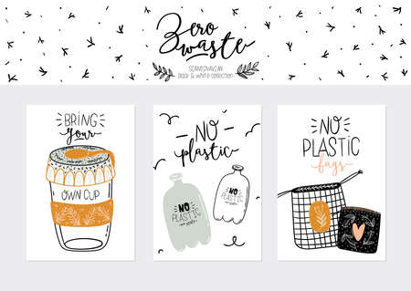 Zero waste life set. Glass jar and cutlery, eco grocery bag, toothbrush, natural cosmetic, menstrual cup, thermo mug. Vector. Trendy hand drawn black and white illustration in scandinavian style.  Illustration
