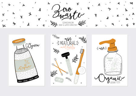 Zero waste life set. Glass jar and cutlery, eco grocery bag, toothbrush, natural cosmetic, menstrual cup, thermo mug. Vector. Trendy hand drawn black and white illustration in scandinavian style.   イラスト・ベクター素材