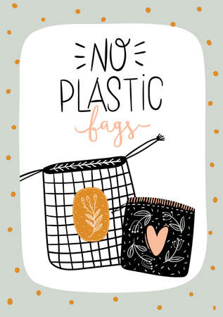 Zero waste life set. Glass jar and cutlery, eco grocery bag, toothbrush, natural cosmetic, menstrual cup, thermo mug. Vector. Trendy hand drawn black and white illustration in scandinavian style.  Ilustração