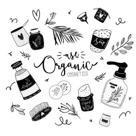 Zero waste life set. Glass jar and cutlery, eco grocery bag, toothbrush, natural cosmetic, menstrual cup, thermo mug. Vector. Trendy hand drawn black and white illustration in scandinavian style. Stock Vector - 125007610