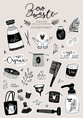 Zero waste life set. Glass jar and cutlery, eco grocery bag, toothbrush, natural cosmetic, menstrual cup, thermo mug. Vector. Trendy hand drawn black and white illustration in scandinavian style.