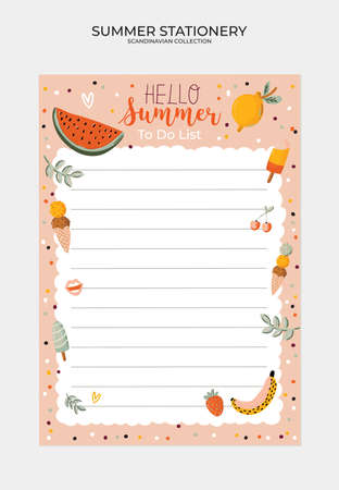 Set of weekly planners and to do lists with cute summer illustrations and trendy lettering. Template for agenda, planners, check lists, and other kids stationery. Isolated. Vector