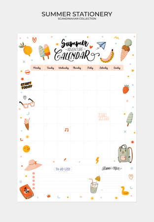 Set of weekly planners and to do lists with cute summer illustrations and trendy lettering. Template for agenda, planners, check lists, and other kids stationery. Isolated. Vector Vetores