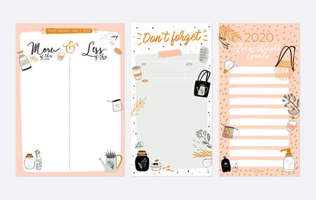 Set of weekly illustrations and trendy lettering. Template for agenda, checkers, check lists, and other kids stationery. Isolated. Vector