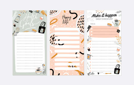 Set of weekly illustrations and trendy lettering. Template for agenda, checkers, check lists, and other kids stationery. Isolated. Vector Çizim