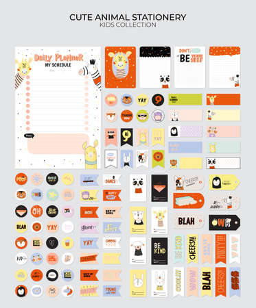 Set of weekly planners and to do lists with cute animals illustrations and trendy lettering. Template for agenda, planners, check lists, and other kids stationery. Isolated. Vector