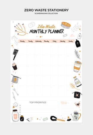 Set weekplanners en takenlijsten met illustraties zonder afval en trendy belettering. Sjabloon voor agenda, planners, checklists en ander briefpapier voor kinderen. Geïsoleerd. Vector Vector Illustratie