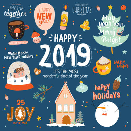 Merry Christmas And Happy New 2020 Year templates with holiday lettering and traditional christmas elements. Cute illustration in scandinavian style. Vector. Blue backround. Kids, animals, car, gifts