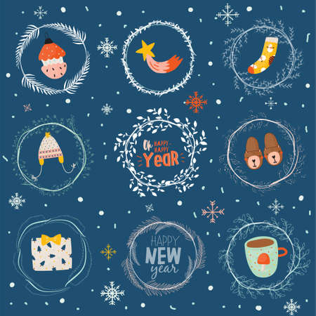 Merry Christmas And Happy New 2019 Year card template with holiday lettering and traditional christmas illustration. Cute elements in scandinavian style. Vector backround.  Illustration