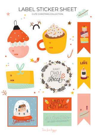 Cute nordic gift labels, stickers and tags with autumn and winter elements. Isolated on white background. Motivational typography of hygge quotes. Scandinavian style illustration. Vector