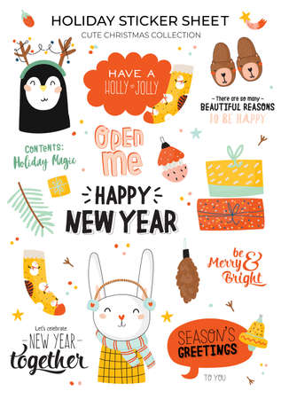 Cute Happy New Year winter elements. Isolated on white background. Motivational typography of hygge quotes. Scandinavian style illustration good for stickers, labels, tags, cards, posters. Vector Çizim