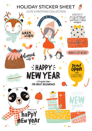Cute Happy New Year winter elements. Isolated on white background. Motivational typography of hygge quotes. Scandinavian style illustration good for stickers, labels, tags, cards, posters. Vector Illusztráció