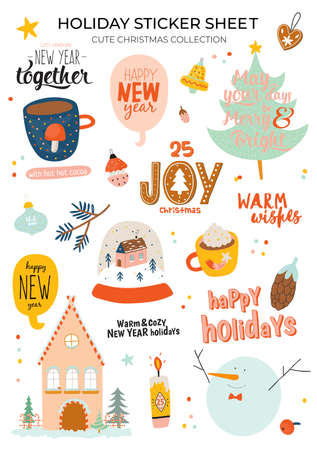 Cute Happy New Year winter elements. Isolated on white background. Motivational typography of hygge quotes. Scandinavian style illustration good for stickers, labels, tags, cards, posters. Vector Ilustração